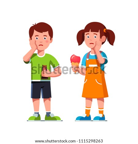 Aching boy, girl kids touching cheeks feeling tooth pain, holding unhealthy food sweets chocolate bar & ice cream suffering toothache. Bad food habits harming children teeth. Flat vector illustration