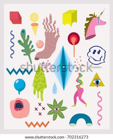 acid doodle set smile  plants