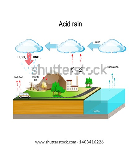 Acid rain is caused by emissions of sulfur dioxide and nitrogen oxide, which react with the water molecules in the atmosphere to produce acids.