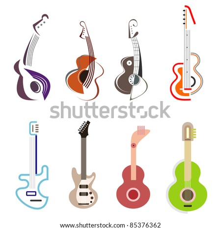 Acoustic and Electric guitars - set of color vector icons. Isolated on white background. Design elements. Can be used as logotype. - stock vector