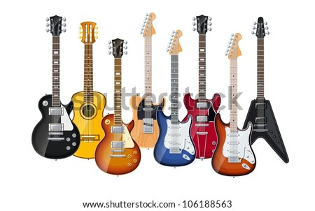 Acoustic And Electric Guitars Set Of Vector Icon Illustration Isolated On White Background EPS10 Transparent