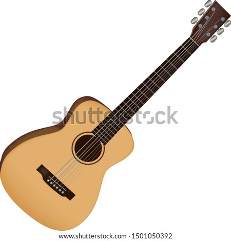 Acoustic classic guitar six strings. Vector illustration.