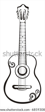acoustic classic guitar sketch in black lines