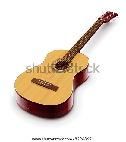 acoustic classic guitar vector illustration isolated on white background