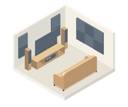 acoustic foam panels home theater isometric