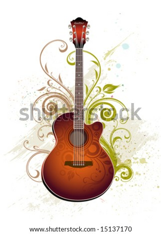 Acoustic guitar - stock vector
