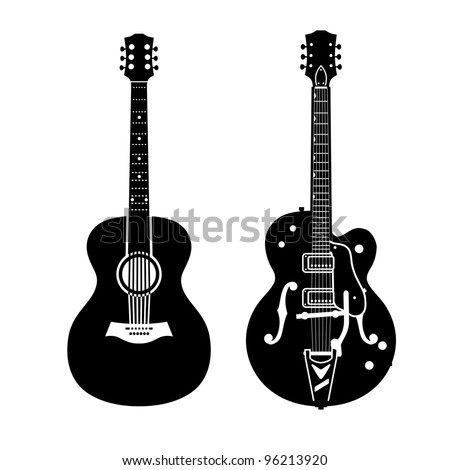 Acoustic guitar and electric guitar