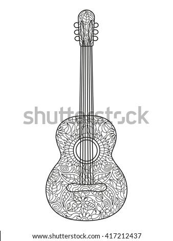 acoustic guitar coloring book