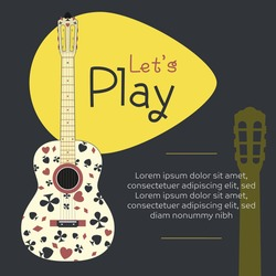 Acoustic guitar design with playing cards decoration. Flat illustration.