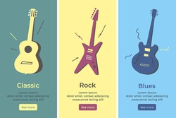 Acoustic guitar, electric guitar. Set of vector Isolated banners of musical stringed instruments. Classic, rock, jazz and blues style. Page оnline store. Abstract illustration. Poster. Musical band.