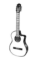 Acoustic guitar. Hand drawn vector illustration