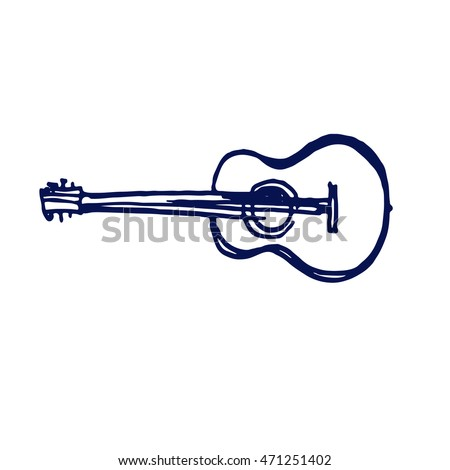 acoustic guitar icon doodle hand drawn sketch
