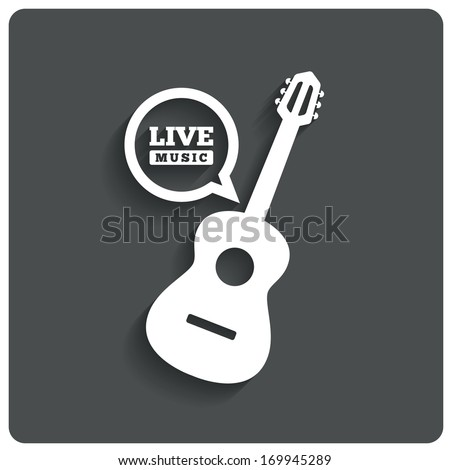 Acoustic guitar icon. Live music symbol. Karaoke symbol. Restaurant flat icon. Vector illustration.