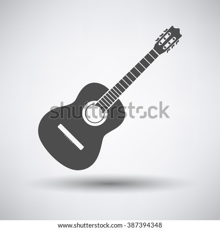 Acoustic guitar icon on gray background with round shadow. Vector illustration.