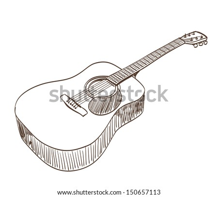 acoustic guitar in line art style