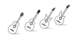 Acoustic guitar musical instrument line art vector icon for music applications and websites set of acoustic and electric guitars. Vector illustration.