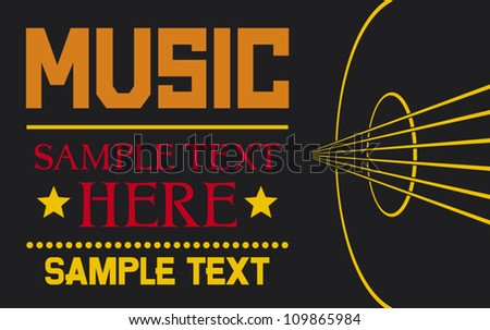acoustic guitar - vector background (musical poster design, music design)