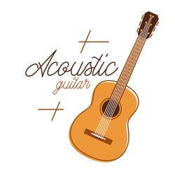 Acoustic guitar vector emblem for festival or concert or player isolated on white, live music theme, logo for musical recording label, instruments shop.