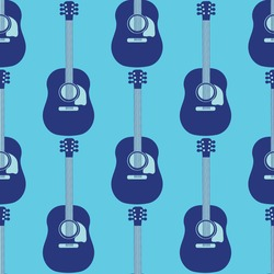 Acoustic guitar vector seamless pattern background. Dark and light blue musical string instrument duotone backdrop. Monochrome design. Geometric all over print for music lesson or festival concept