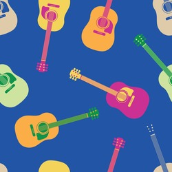 Acoustic guitar vector seamless pattern background. Vibrant tropical color musical string instrument backdrop. Orange, pink, blue scattered icons design.Repeat for beach party, music festival concept