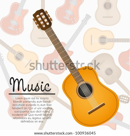 acoustic guitar with space for text on background guitar pattern