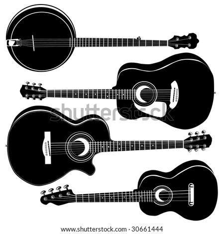 Acoustic guitars and banjo in detailed vector silhouette.  Set includes a variety of body styles for any type of music.