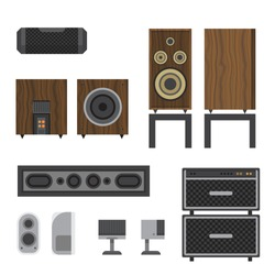 Acoustic in plane wooden body, vector icon. The audio speaker. Music column. Music Acoustic speaker. Cartoon illustration of music column vector icon for web. Audio speakers in different colors.