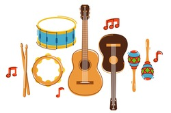 Acoustic music instruments composition vector flat illustration isolated on white, rock ballads concert or festival, live sound fest, rock musical bands.