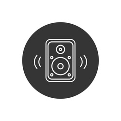 Acoustic music speaker line white icon. Simple icon element for website, web design, mobile applications, infographics