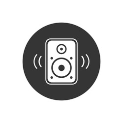 Acoustic music speaker white icon. Simple icon element for website, web design, mobile applications, infographics