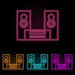 acoustic system color neon set. Simple thin line, outline vector of web icons for ui and ux, website or mobile application