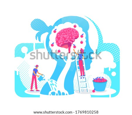 Acquiring experiences flat concept vector illustration. Growth personality knowledge tree 2D. cartoon characters for web design. Assimilation of new skills, values, beliefs creative idea 商業照片 ©