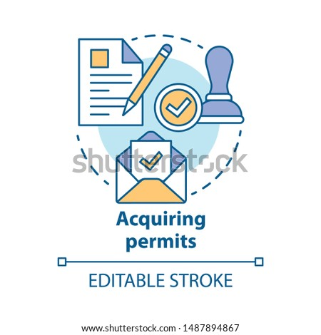 Acquiring permits concept icon. Obtaining license idea thin line illustration. Getting approval. Legal documents and permissions. Formal application. Vector isolated outline drawing. Editable stroke