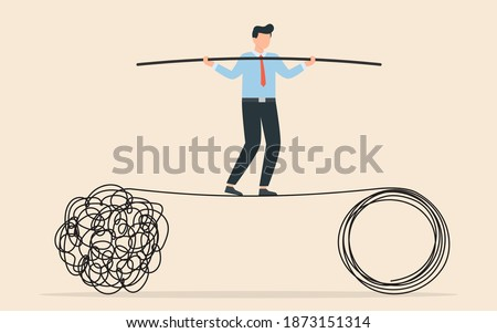 Acrobat walk balance on danger high rope and try to solve problem. Tangle tangled and unraveled. abstract metaphor, business problem solving concept. Photo stock ©