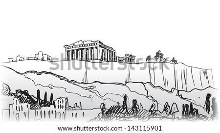 acropolis hill in athens hand