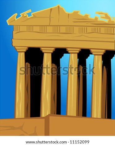 acropolis in blue background