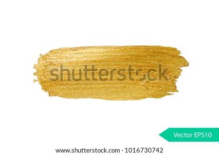 Acryl paint texture stane dub. Gold acrylic brush stroke. Abstract background design vector illustration. Isolated grunge shape golden oil splash. Color paintbrush banner.