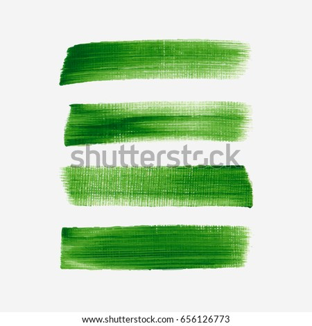 Acrylic art brush painted textured stripes set isolated vector background. Watercolor stroke grunge set.
