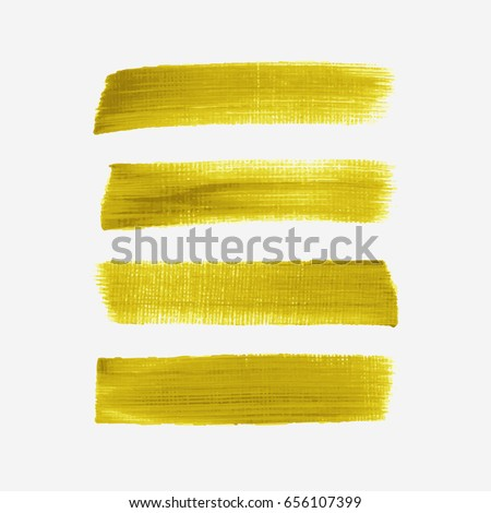 Acrylic art brush painted textured stripes set isolated vector background. Watercolor stroke set.