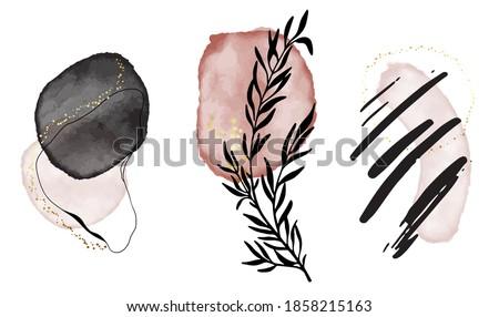 Acrylic ink print, canvas geometric shapes. Black pink Elegant wedding arrangement, woman business template. Social media highlighted icon set. Vector contemporary logo