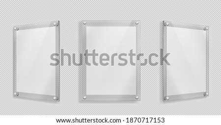 Acrylic poster, blank glass frame hang on wall isolated on transparent background. Empty photo frame template, rectangular name plate, plexiglass banner, holder mockup Realistic 3d vector illustration