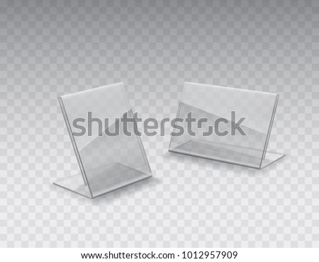 Acrylic table tent, card holder isolated on transparent background. Vector glass display stands. Clear plastic price tag or plexiglass restaurant menu mockup.