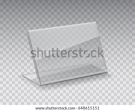 Acrylic table tent, card holder isolated on transparent background. Vector glass display stands. Clear plastic, plexi or plexiglass restaurant menu mockup.