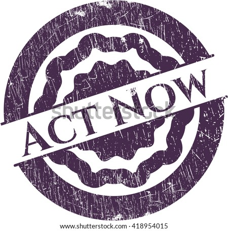 Act Now rubber grunge stamp
