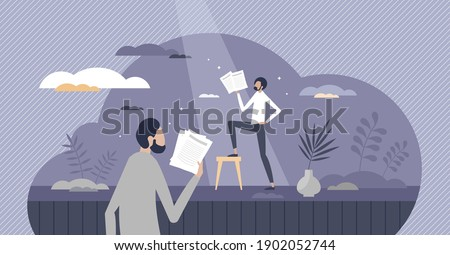 Acting performance by actor on theater stage tiny person concept. Drama entertainment character practice with director for show vector illustration. Professional text learning for tragedy or comedy.