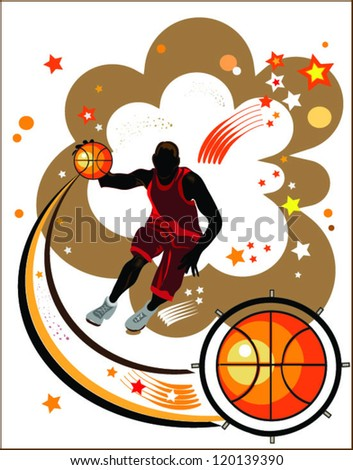 action basketball player,sports background with silhouette of sportsmen and basketball ball.