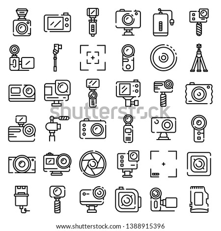 Action camera icons set. Outline set of action camera vector icons for web design isolated on white background