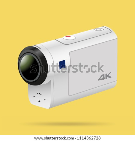 Action camera logo design on the yellow background