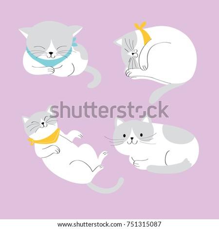 action cartoon cute big cats on