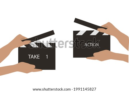 Action Clapboard cinematic for use in vector.